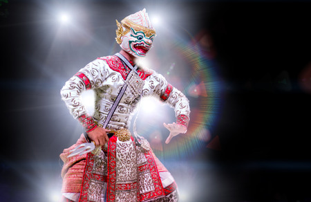 asian and Thailand traditional performance drama call ramayana in monkey suite on black isolate background
