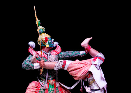 pantomima: asian and Thailand traditional performance drama call ramayana in giant and monkey suite on black isolate background
