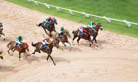 hippodrome: Nakornrajsima , Thailand 18 July 2017 , running horse and jockey on racing outdoor game and run for bet