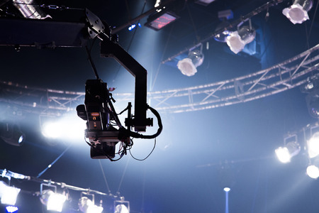 camera record on crane in production on studio and light to stage for entertainment industry Stock Photo