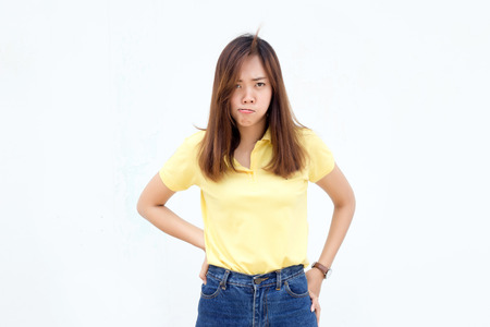 asian lady bad mood action on white background