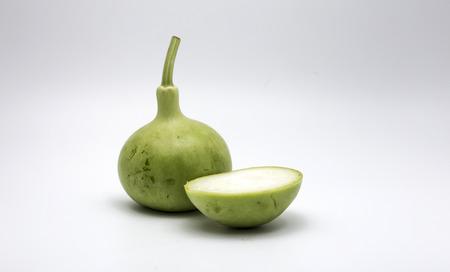 slice fresh green gourd on white background Stock Photo