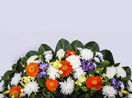 close up mix flower bouquet in corner of banner