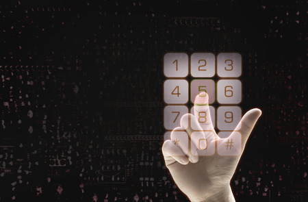 point finger choose number in bottom  frame on black background