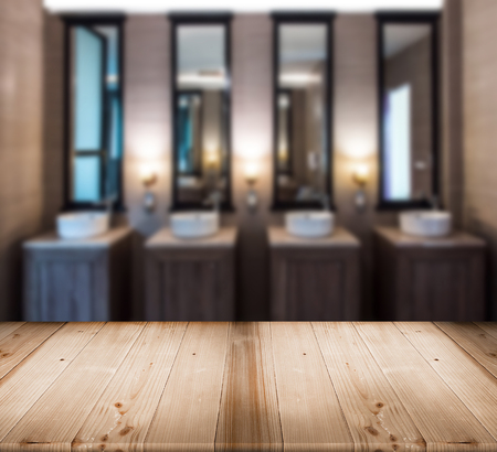 modern sink hand watching in toilet room interior with warm tone