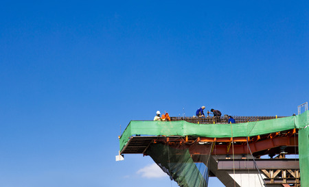 construction road bridge on clear sky and copy space