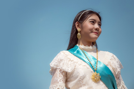asian thai tradition fashion style vintage potrait elegant fashion on blue background
