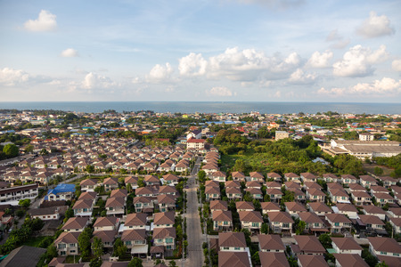 new single house property for new land near seaside from top view in real estate industry Stock Photo