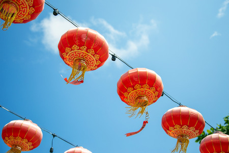 Chinese red lantern hanking decoration on blue sky in Chinese new year festival