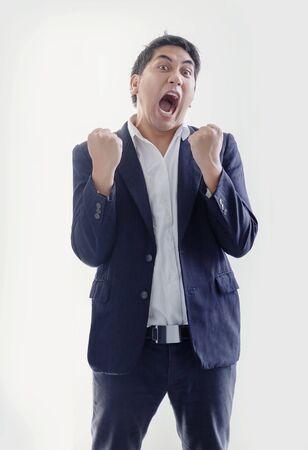 smart asian businessman in blue tone business uniform on white isolated background Reklamní fotografie