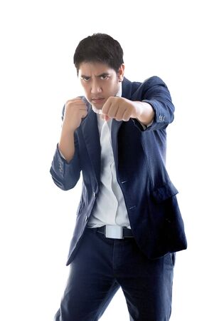 smart asian businessman puch action figthing concept on white isolated background