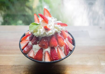 strawbery dessert party made from icing milk with strawberry sauce serve for sweet day from top view 写真素材 - 132048493