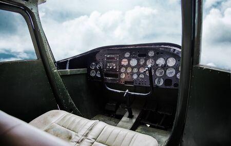 inside old pilot room in aeroplane with blue sky Zdjęcie Seryjne