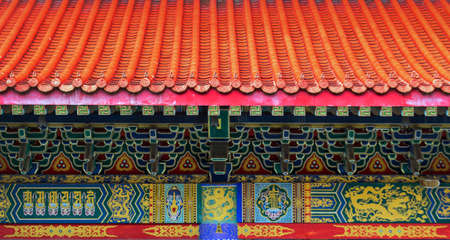 classic Chinese ceremic roof on temple vintage style exterior for background Zdjęcie Seryjne