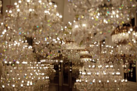 bokeh crystal of contemporary chandelier ornamental light fixture designed to be mounted on ceiling