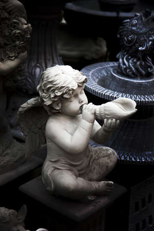 cement figure of baby cupid angle in Roman style from bake cray factory for decorate garden