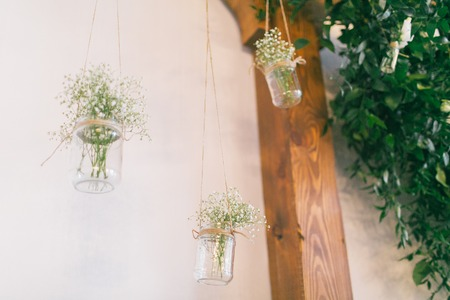 Wedding decoration ideas, pot with flowers.