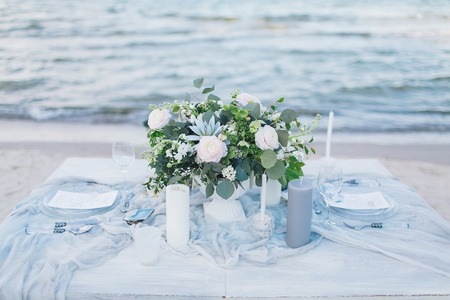 Wedding table at the seashore.