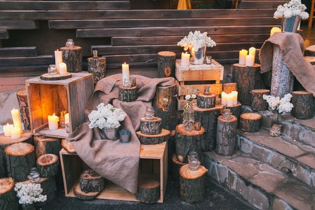 Rustic Wedding Decor Decorated Stairs With Sumps And Lilac