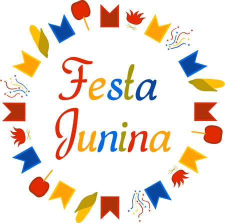 Festa Junina circle pattern with sign Vector Illustration