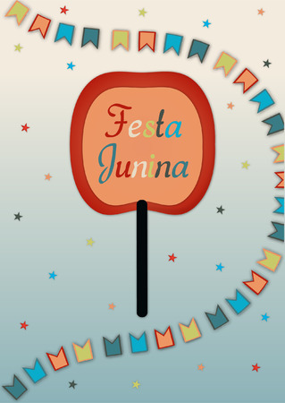 Festa Junina. Latin American holiday, the June party of Brazil, gradient background with garland of colorfull flags, stars, apple in caramel. Illustration