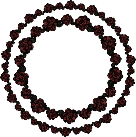 A double wreath of burgundy roses on a white background. Vector. Illustration