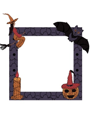 For Halloween. A candlestick, a candle, a bat illustration