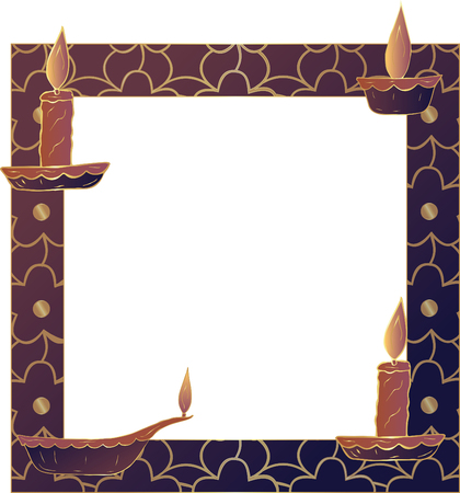 Frame with an oil lamp, candles and an inscription in the center. Template. White background. Vector. Stock Illustratie