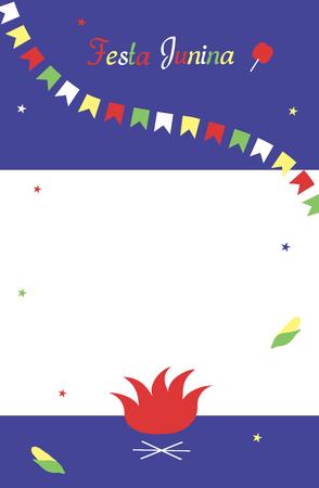 Festa Junina. Template for invitation. Flat multicolored flags and stars, Vector.