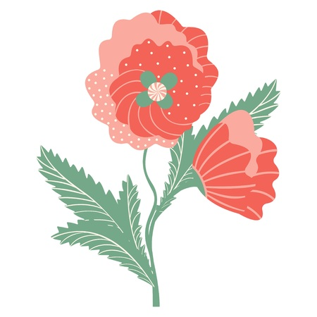 Abstract bouquet of poppies. Two flowers on a white background. Vector.