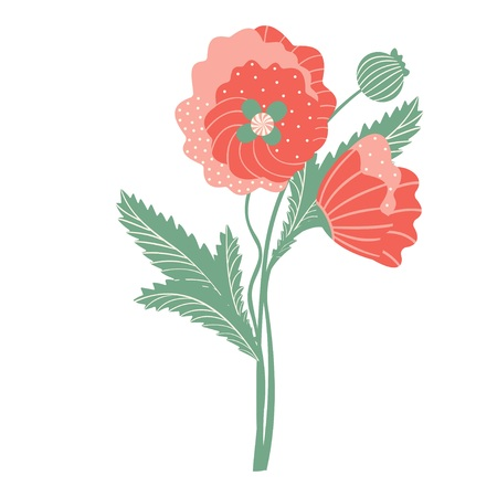 Bouquet of poppies. Abstraction. Two flowers on a white background. Vector. 矢量图像