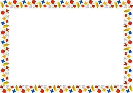 Template for Festa Junina. Brazilian festival in June. Rectangular frame of multi-colored corn, bunfires, flags, confetti, apples in caramel on a white background. Vector.