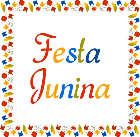 Square multi colored banner for Festa Junina. Brazil Festival in June. Small flags, corn, confetti, caramel apples and bonfires. Vector.