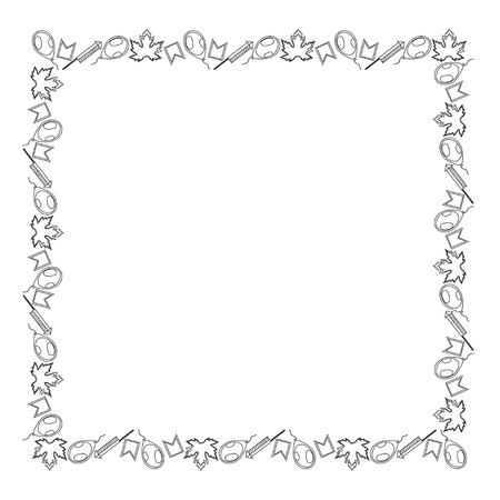 Black and white template for Canada Day. Square frame leaves, balloons, firecrackers and flags. Coloring. Vector.