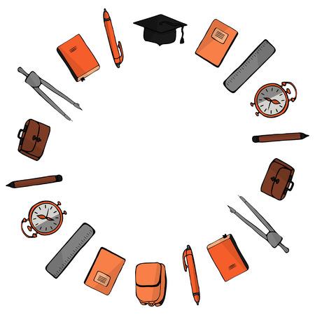 1er septembre et rentrée scolaire. Cadre rond de fournitures scolaires sur fond blanc. Vecteur.