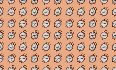 Seamless pattern. Alarm clocks on a coral background. Vector.
