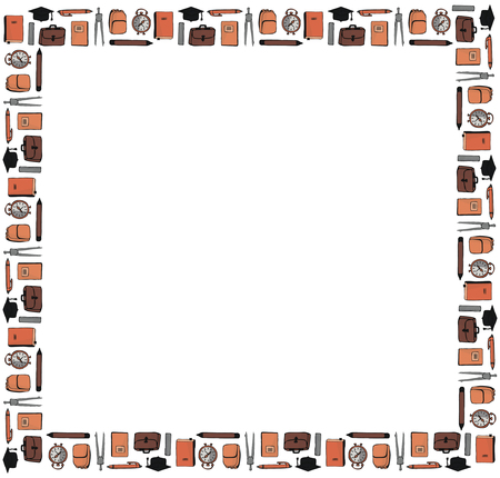 A square frame of textbooks, portfolios, rulers, square academic caps, pens, notebooks, compasses, backpacks, pencils, alarm clocks on a white background. Vector.