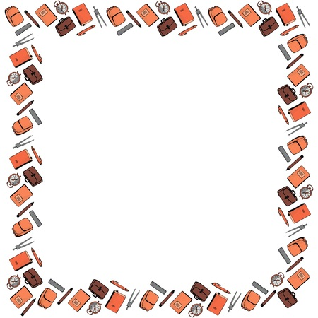 Square frame for September 1 from pencils, pens, compasses, alarm clocks, notebooks, textbooks, backpacks and backpacks on a white background. Vector.
