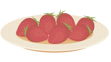 Fresh strawberries on a white background. Vector. Illustration