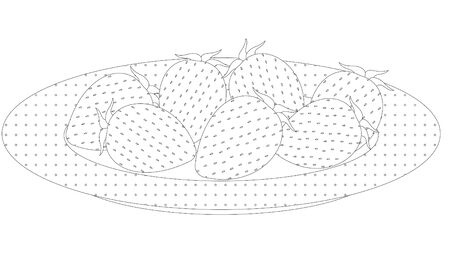 Black and white whole fresh strawberries on a white plate. Coloring page. Vector.