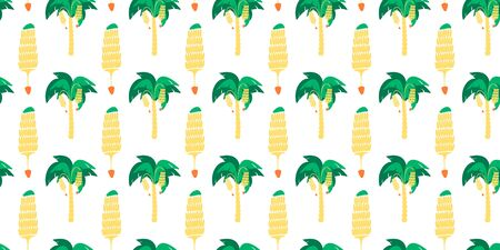 Seamless pattern. Banana trees and banana bunches on a white background. Vector. Ilustração