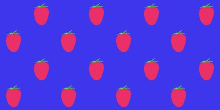 Seamless pattern. Whole raspberry berries on a blue background. Vector.