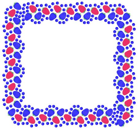 Square frame of fresh wild blackberries, raspberries and blueberries on a white background. Vector. Ilustracja