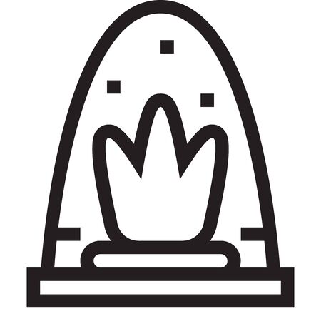 Black and white outline icon of a stove with a burning fire on a white background. Vector.