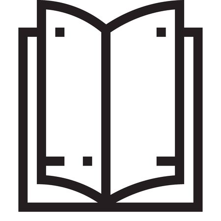 Black and white outline icon of an open book against white background. Vector.