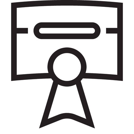 Black and white outline icon of diploma with stamp on a white background. Vector.