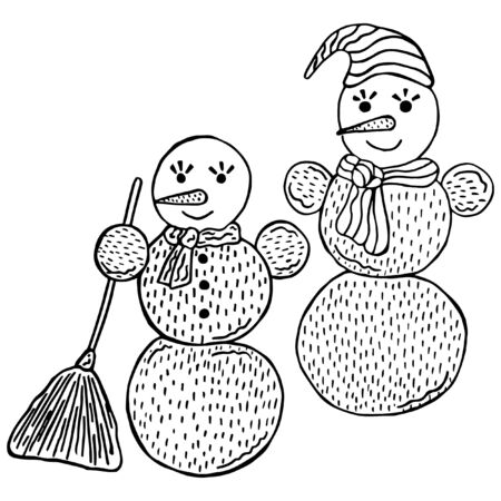 Two black and white hand-drawn snowmen in Scandinavian style on a white background. Doodles for storytelling. Childrens vector illustration. Ilustração