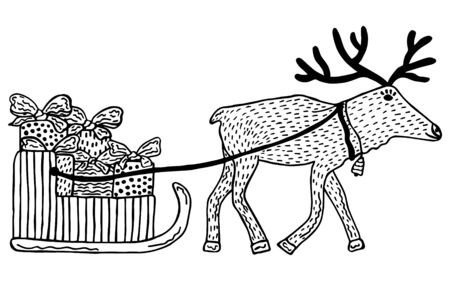 Hand-drawn in Scandinavian style black and white deer harnessed to a sled with gifts for Christmas and New Year on a white background. Childrens coloring book. Vector.