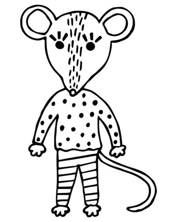 Hand-drawn little cute black and white rat in Scandinavian style on a white background. Children's illustration. Character for a coloring book. Vector.