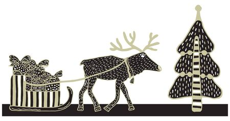 A deer harnessed to a sled with gifts for Christmas and New Year near a Christmas tree on a white background. Illustration in scandinavian style. Black and gold colors. Vector.